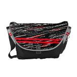 Red Gray Stripe Scratch Messenger Bag