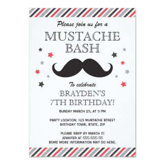 Red gray stripes mustache bash birthday party card