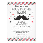 Red gray stripes mustache bash birthday party custom announcement