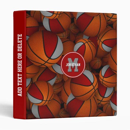red gray team colors boys girls basketball 3 ring binder