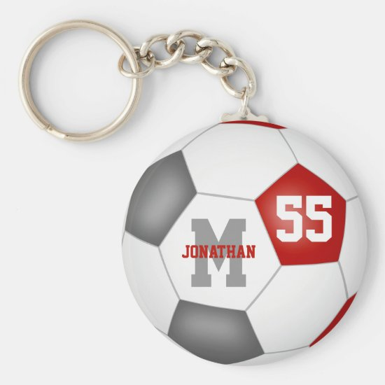 red gray team colors boys girls soccer ball keychain