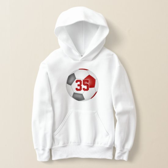 red gray team colors jersey number soccer hoodie