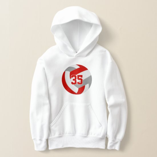 red gray team colors jersey number volleyball hoodie