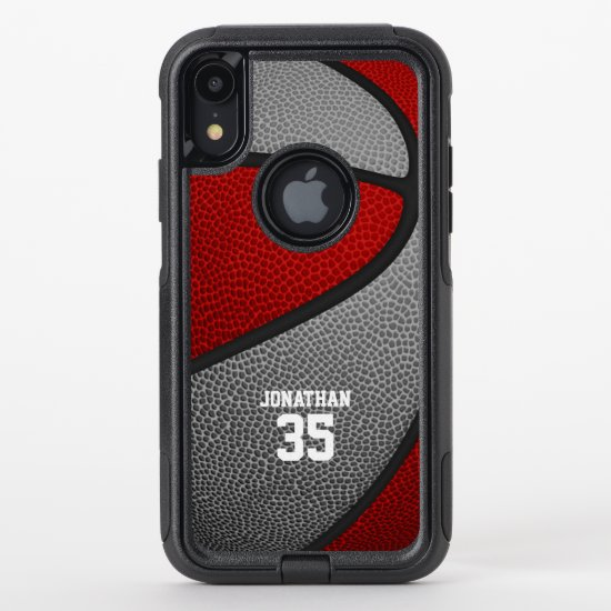 red gray team colors personalized basketball OtterBox commuter iPhone XR case