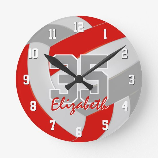 red gray team colors players name volleyball round clock