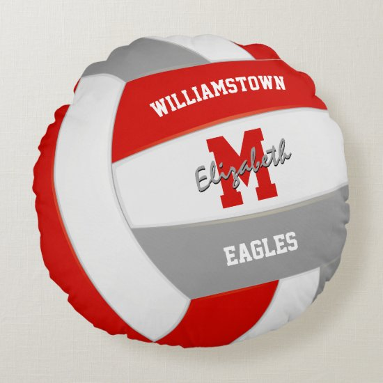 red gray team colors realistic volleyball round pillow
