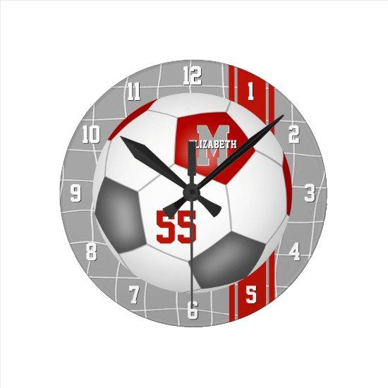 red gray team colors varsity stripes soccer round clock