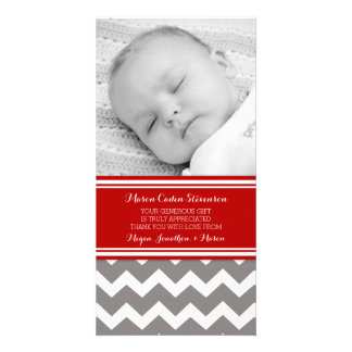 Red Gray Thank You Baby Shower Photo Cards