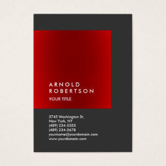 Red Gray Trendy Chubby Professional Business Card