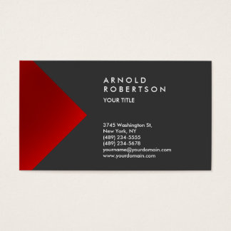 Red Gray Trendy Professional Business Card