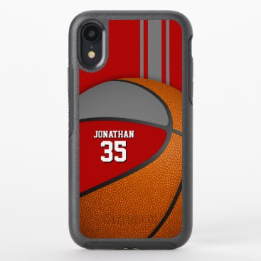 red gray varsity basketball team colors boys OtterBox symmetry iPhone XR case