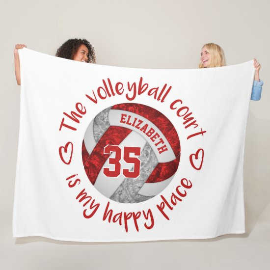 red gray volleyball court happy place personalized fleece blanket