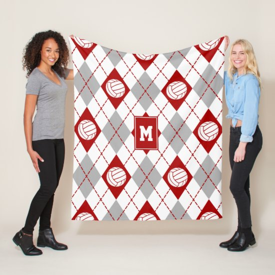 red gray volleyball team colors argyle pattern fleece blanket