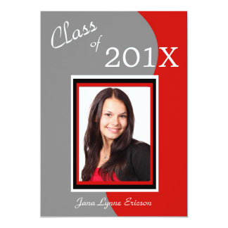 "Red Gray Wave Photo Graduation Party 5"" X 7"" Invitation Card"