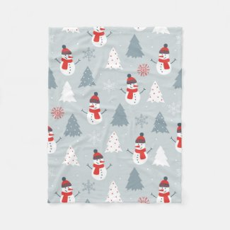 Red Gray & White Christmas Snowman Pattern