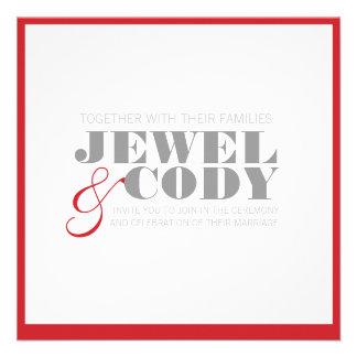 red, gray, white WEDDING INVITAION Custom Invitations
