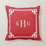 Red Greek Key Border Custom Monogram Pillow
