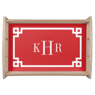 Red Greek Key Border Custom Monogram Serving Tray