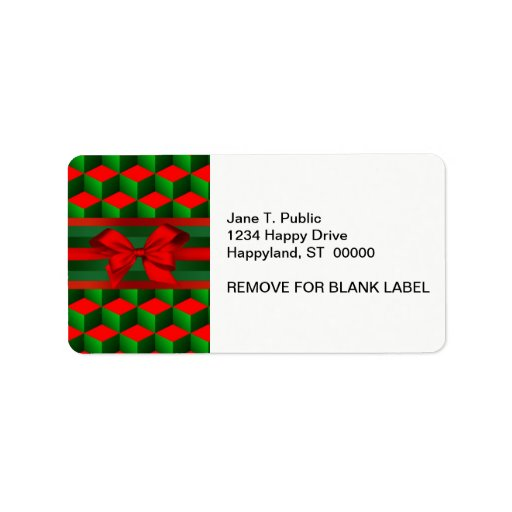 Red & Green 3D Look Cubes Ribbon Christmas Personalized Address Labels