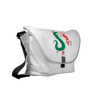 red green abstract chinese dragon.png courier bag