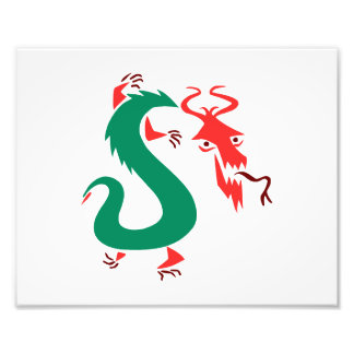 red green abstract chinese dragon.png photo print