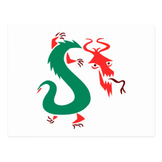 red green abstract chinese dragon.png postcard