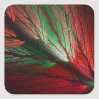 Red & Green Abstract Fractal Square Sticker