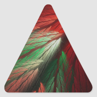 Red & Green Abstract Fractal Triangle Sticker