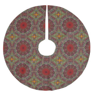 Red Green Abstract Kaleidoscope Brushed Polyester Tree Skirt