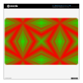Red green abstract pattern decal for the MacBook air