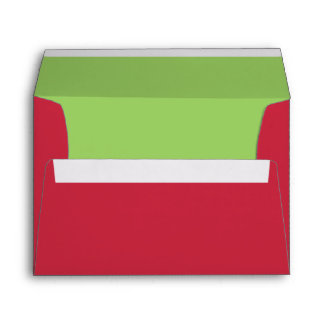 Red & Green Addressed Christmas Card Envelope Envelopes
