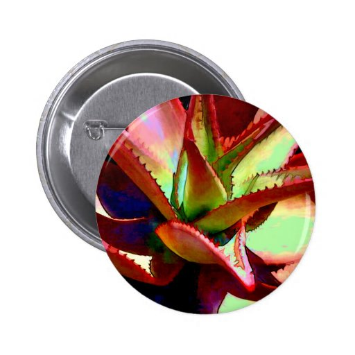 Red & Green Agave Pinback Button