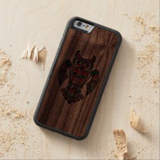 Red Green and Black Haida Spirit Owl Carved® Walnut iPhone 6 Bumper