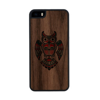 Red Green and Black Haida Spirit Owl Carved® Walnut iPhone 5 Case