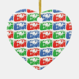 red green and blue camera pattern ceramic ornament