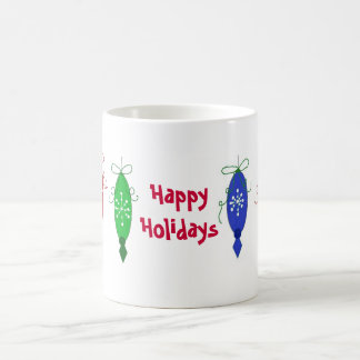 Red, Green and Blue Christmas Ornaments Coffee Mugs