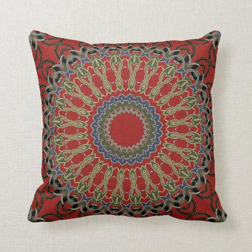 Red Green And Blue Throw Pillows : Red, Green and Blue Mandala Throw Pillows Zazzle