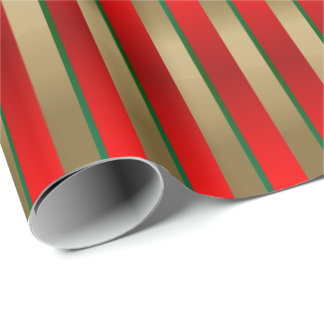 Red, Green and Gold Christmas Stripes Wrapping Paper