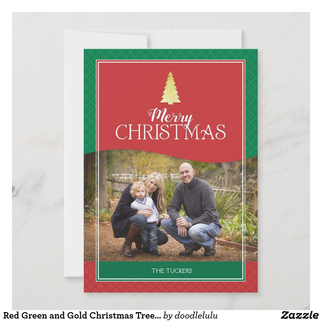 Red Green and Gold Christmas Tree Photo Card
