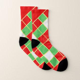 Red, Green, and Gold diamond design Christmas Socks