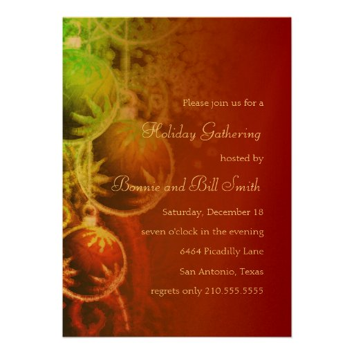 Red Green and Gold Holiday Party Invitation