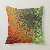 Red Green And Gold Pattern Throw Pillow