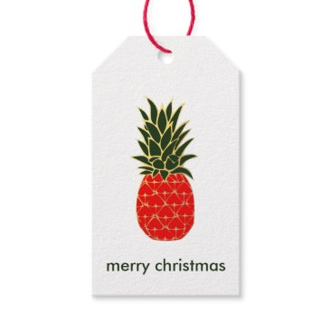 Christmas Themed Red Green and Gold Tropical Pineapple Christmas Gift Tags