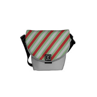 Red, green and grey stripes courier bag