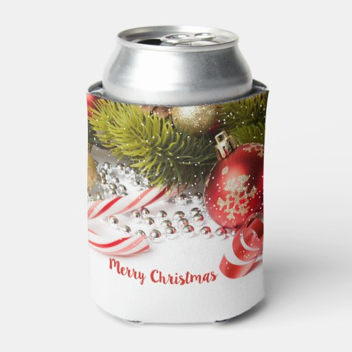 Red green and white christmas decor can cooler zazzle for Red white green christmas decor