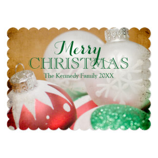 Red, green and white Christmas ornaments Card