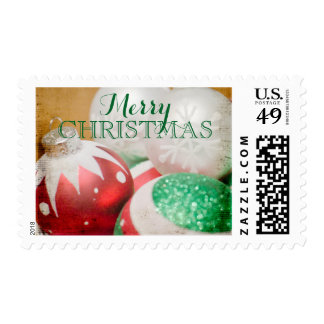 Red, green and white Christmas ornaments Postage Stamp