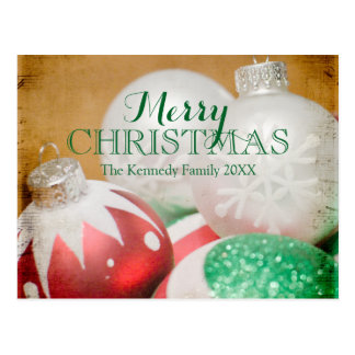 Red, green and white Christmas ornaments Postcard