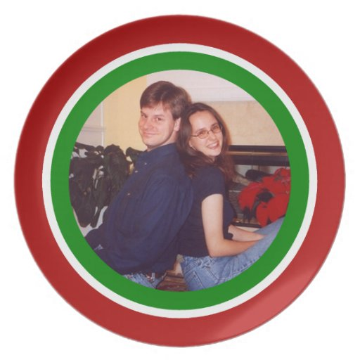 Red,  Green and White Christmas Photo Template Plate