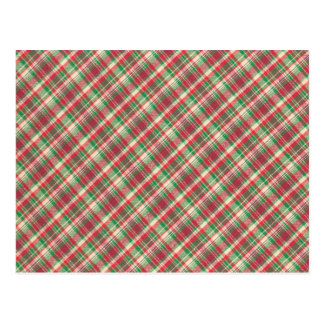 Red Green and White Diagonal Plaid Postcard